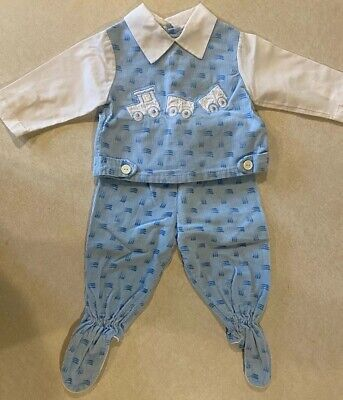 Vintage Mayfair Baby Boy Blue Corduroy Footed 2 Piece Outfit  3/6 M  USA Train