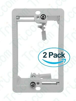 2x Tricom Single 1-Gang Low Voltage Wall Plate Mounting Bracket - White