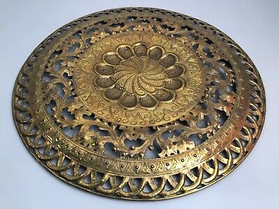 "Antique Repose Pierced Brass Large 39"" Floral Round Wall Hanging Tray"