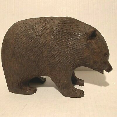 """Antique Black Forest Wood Hand Carved Bear Figure – 8.5"""" Long – 3 Lbs. 15 Ounces"""