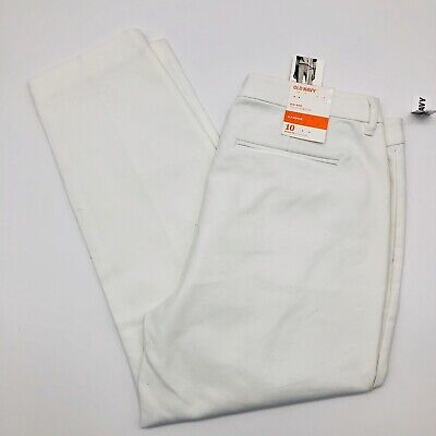 Old Navy Womens Size 10R Harper Mid Rise Straight Dress Pants White Crop Ankle