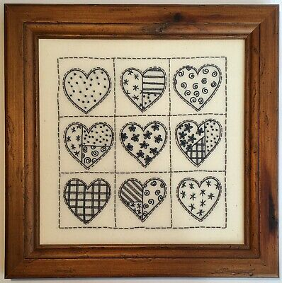 Gorgeous Hand Stitched Navy 'Nine Hearts Patchwork Grid' in Rustic Wooden Frame