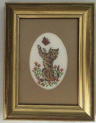 Delightful Tabby Cat Playing with Butterfly Cross Stitch in Exquisite Gold Frame