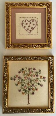 Patchwork Heart AND Tree of Love Stitcheries in Exquisite Ornate Frames in Gold