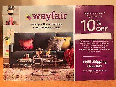 WAYFAIR 10% off Coupon Discount Code For First Time Shoppers! Expires 04/30/20