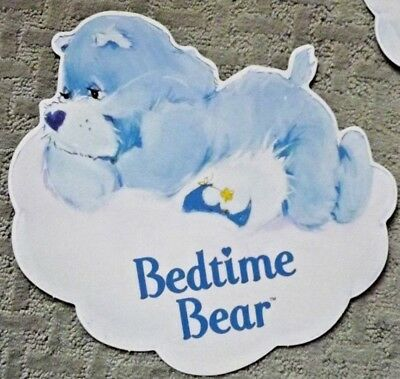 """Vintage Care Bears DieCut Lot of 2 BEDTIME BEAR 1982, AGC 12"""" NEW double sides"""