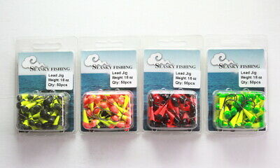 50 NEW 1//16 oz Round Jigheads Jigs Barb Two-tone Seasky Fishing Lures 8 Colors