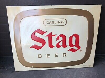 """Vintage Stag Beer Metal Sign 46"""" Wide 36"""" Tall Embossed Sign Carling Brewing Co"""