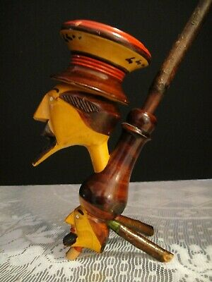 Vintage Standing Smoker Handpainted Wood Faces LONG!!!