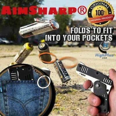 Rubber Band Gun Mini Metal Folding 6 Shots With Keychain And Rubber Band Acc