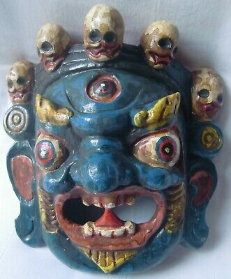 Multicolor wooden demon face mask wood devil head statue hand painted home decor
