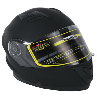 TCMT Dot Safety Matte Black Dual Visor Full Face Motorcycle Off-road Helmet M~XL