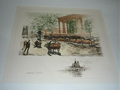 Antique Original French Hand Coloured Engraving Signed Henri Le Riche 1868-1944