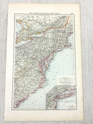 1896 Antique of New York Maryland Jersey United States USA German 19th Century
