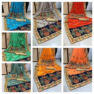New Indian VICHITRATWOTONE WITH FULLY EMBRODERY WORK Saree/Sari A142