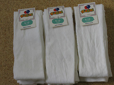 3 Pairs Girls White Patterened  Tights Age 9-10 Years