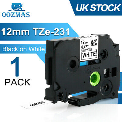 Compatible Brother TZ-231 P-Touch Black On White Label Tape Printer 12mm TZe-231