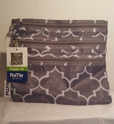 RuMe Bags Baggie All Zippered Organizer Grey Downing New With Tags