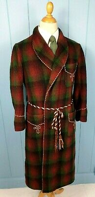 ROBE DRESSING GOWN BATH SMOKING JACKET WOOL VINTAGE 1940s RED SMALL 38 SHORT