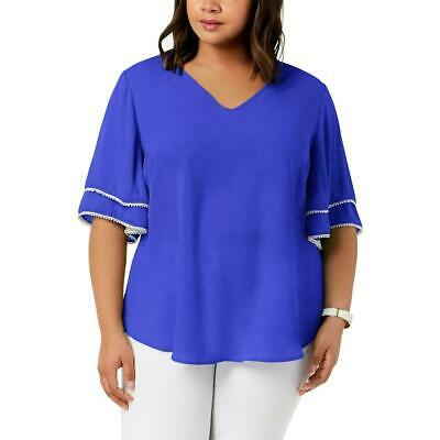 NEW NY Collection Women's Plus Ruffled Beaded Elbow Sleeve Top Blue Size 1X