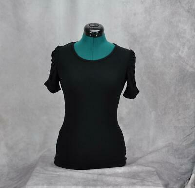 INC Womens Ruched-Short-Sleeve Scoop Neck T-Shirt Size XS Deep Black