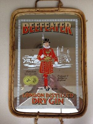 Beefeater London Distilled Dry Gin Mirrored Wooden Serving Tray Vintage