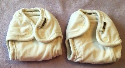 Lot of 2 Mother-ease One Size fitted diaper w snap-in liner (organic cotton)