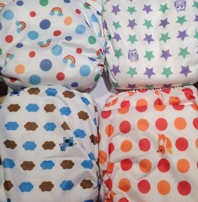 Lot of 4 (rainbow, owl, fox, cow) Tots Bots one size AIO