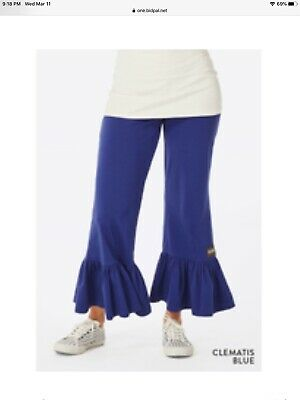 Matilda Jane Clematis Blue Big Ruffles Pants Women's size Small NEW