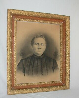 """Antique Ornate Carved Large Gold Wooden Frame Old Woman Photo 28"""" X 24"""""""