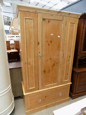 antique,victorian,pine,break down,panelled,wardrobe,drawer,bedroom,hanging rail,