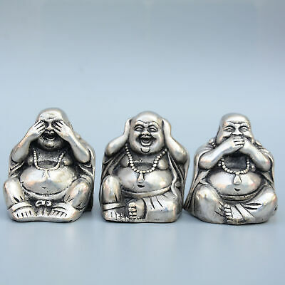 Collectable China Miao Silver Hand-Carved Three Happy Buddha Bring Luck Statue