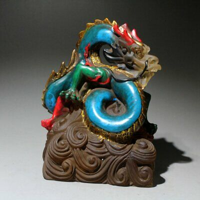Collectable Chinese Coloured Glaze Handwork Carve Auspicious Dragon Seal Statue