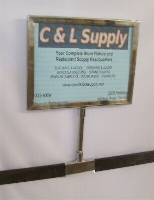 """New 5.5"""" x 7"""" Metal Sign Holder Card Frame With Crossbar Base 11"""" Tall"""