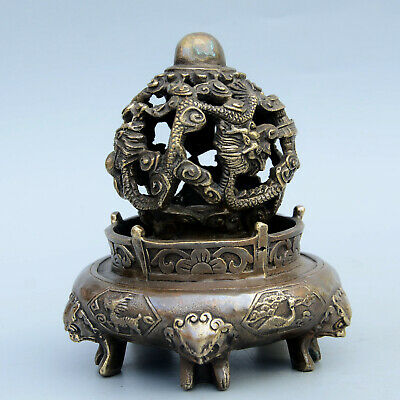 AAA Qianlong Years Collectable Old Bronze Carve Dragon Chase Sun Exorcism Censer