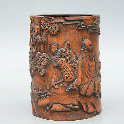 Collectable China Old Boxwood Hand-Carved Flowers Old Man Crane Unique Brush Pot