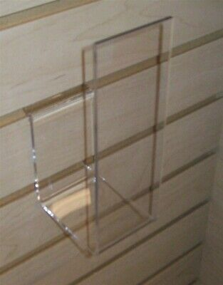 """Store Display Fixtures 2 NEW ACRYLIC 2.5"""" W. SLAT WALL EASEL W/ 7"""" LIP ON FRONT"""