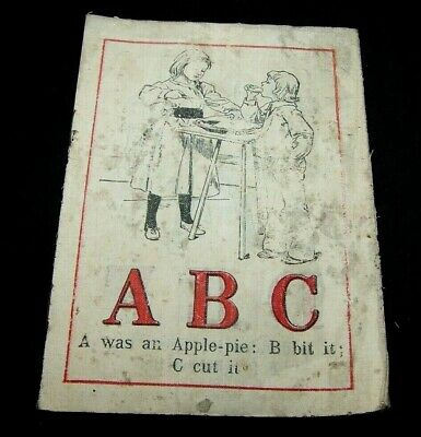 Late 1800'S Linen Cloth Child's Abc Book-Illustrated-Antique-Early Learning