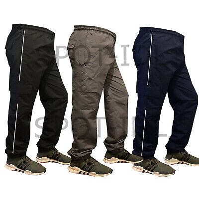 Mens Elasticated Cargo Combat Work lightweight Track Pants Bottoms Trousers New