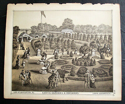 1870s - Beers Atlas Litho - G W Houghton Exotic Gardens - Long Branch NJ