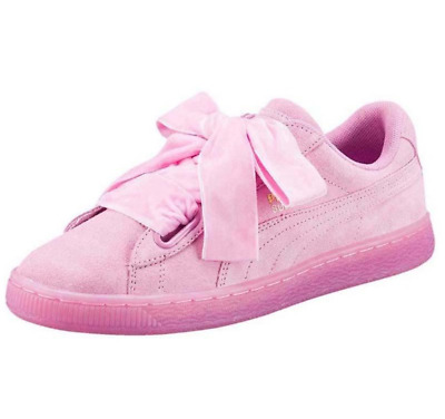 Brand New Genuine Womens Girls Puma Suede Heart Bow Pink Trainers Size 5.5 Eu 38