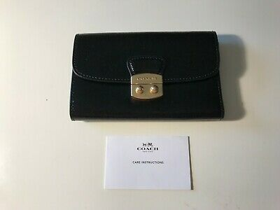 NEW Coach F39164 Avery Patent Crossgrain Leather MD Envelope Wallet BLACK $225