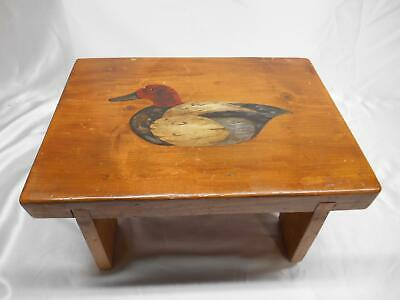 Old Vtg 1988 WOOD  MILKING STOOL Step Bench Chair Seat DUCK HUNTER MOTIF SIGNED