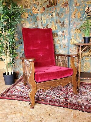 Antique Poss Wm. Morris Velvet Library Recliner Chair Arts & Crafts FREE STORAGE
