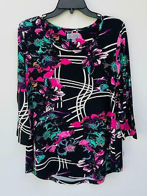 NEW JM Collection Women's Pinted 3/4 Sleeve Scoop Neck Top Black Size Medium