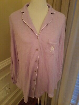 Victorias Secret Vs 100% Cotton Lavender Sleep Top Button Up Shirt
