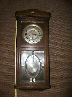 "Late 1920'S German Wall Clock  8"" Face For Spares Repair 31.5"" High"