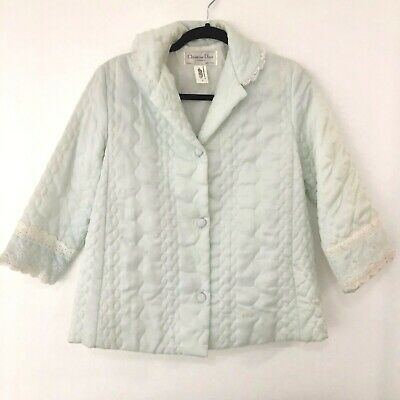 Christian Dior Lingerie Baby Blue Quilted Bed Jacket Lace Collar & Cuffs Vintage
