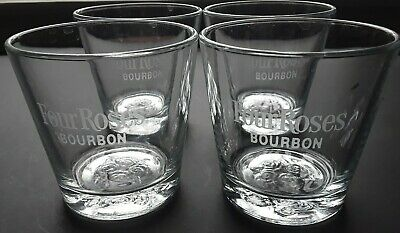 Four Roses Bourbon Glasses Embossed Rose on Bottom of Glass Set of 4