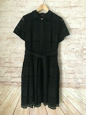 NWT Women's TALBOTS Black  All Over Eyelet Shirt Dress Size 12 Petite Belted 12P